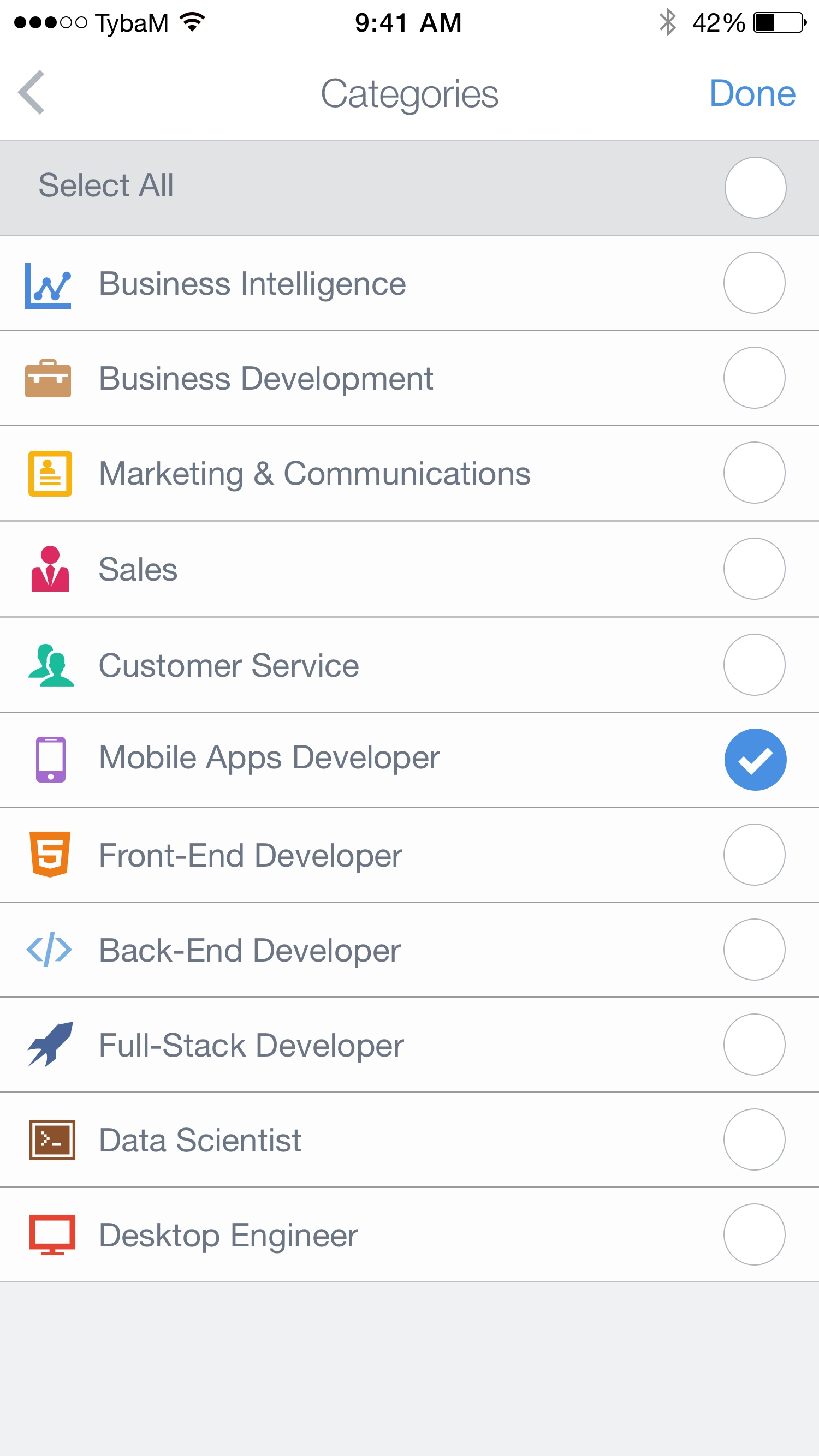 Jobs – Categories Filters